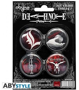 Death Note - Abystyle - Pins - Spille - Set 4 Pezzi - L - Kira - Shinigami - Ufficiali