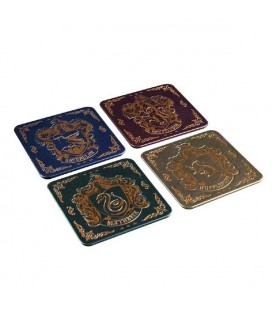 HARRY POTTER - HOGWARTS CREST COASTERS / SOTTOBICCHIERI - SET 4 PCS - 9 X 9 cm