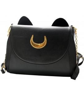 Pidak Shop - Borsa con orecchie da gatto e simbolo lunare - Con tracolla da donna - Colore Nero