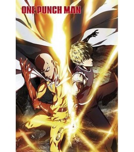 One Punch Man - Poster - Wallpaper - Abystyle - Ufficiale -Saitama e Genos - 91,5 x 61 cm