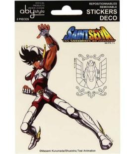 Saint Seiya - Cavalieri dello Zodiaco - Abystyle - Ufficiali - 2 Pcs Set Stickers adesivi - Sirio Shiryu - Pegasus 16 x 11 Cm