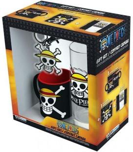 One Piece - Gift Box - Confezione Regalo - Bicchiere 29 cl - Portachiavi - Mini Tazza Mug espresso - Abystyle
