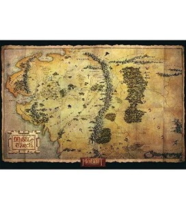 Lo Hobbit - Middle Earth Map - Montagna Solitaria - Poster - Wallpaper - Abystyle - Ufficiale - 91,5 x 61 cm - carta laminata