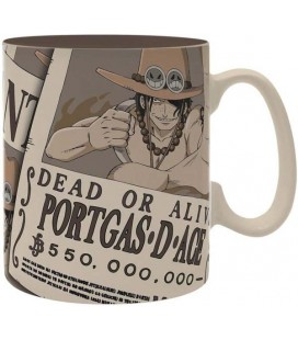 One Piece - Portgas D. Ace - Wanted - Mug Tazza - Abystyle - Ceramica - 460 Ml