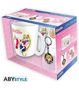 SAILOR MOON - GIFT BOX - KING SIZE MUG 460 ML - KEYCHAIN - 2 BADGES