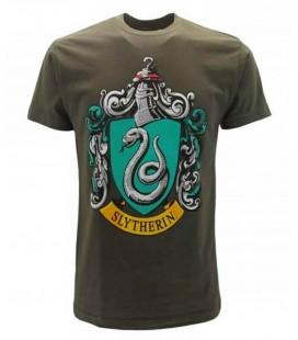 Maglia mezze maniche con logo della casata Serpeverde di Harry Potter