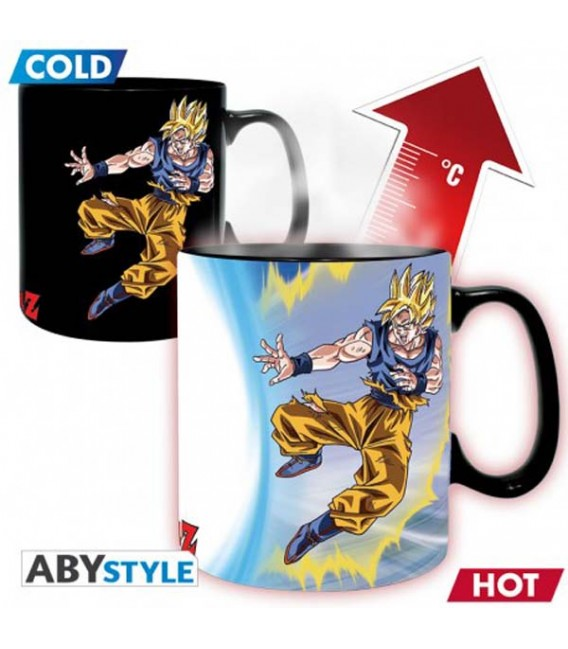 "DRAGON BALL Z - MUG HEAT CHANGE/TAZZA TERMICA - KING SIZE 460ML - ""GOKU VS BUU"""