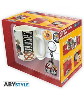 ONE PIECE - GIFT BOX - KING SIZE MUG 460 ML - KEYCHAIN - 2 BADGES