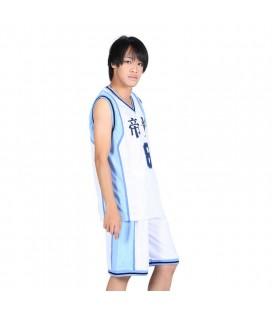 Completino Da Basket Dell'Ala Piccola Del Liceo Kaijo - Cosplay - Bianco/Azzurro - Numero 8