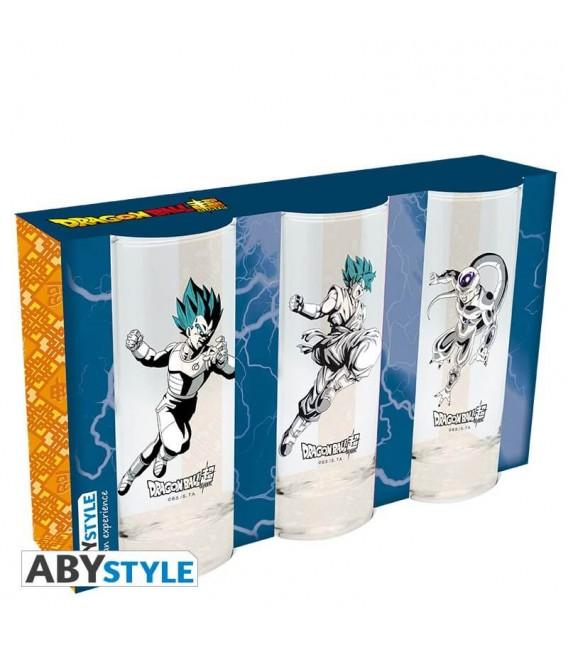 Set di 3 bicchieri Dragonball Super (da 29 cl) - Assalto a Freezer di Goku e Vegeta - Abystyle