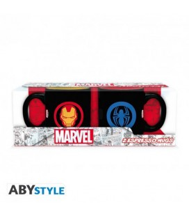 "MARVEL - SET 2 MINI MUGS/TAZZE "" IRON MAN SPIDER MAN"""