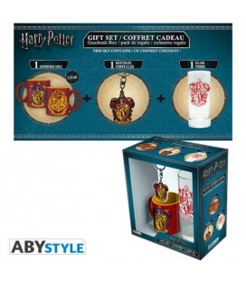 "HARRY POTTER - GIFT BOX - GLASS/BICCHIERE 29CL + KEYRING/PORTACHIAVI + MINI MUG/TAZZA ""GRIFONDORO"""