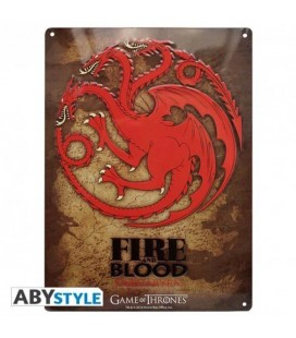 "GAME OF THRONES - PLACCA IN METALLO/METAL PLATE - ""TARGARYEN"""