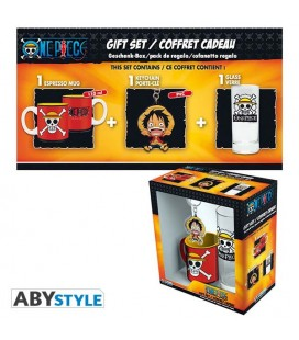"ONE PIECE - GIFT BOX - GLASS/BICCHIERE 29CL - KEYRING/PORTACHIAVI - MINI MUG/TAZZA ""SKULL LUFFY"""