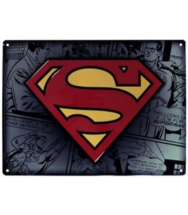 "SUPERMAN - PLACCA IN METALLO/METAL PLATE - ""SUPERMAN LOGO"""
